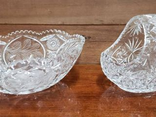 Crystal Basket and large Oval Crystal Cut   Etched Bowl