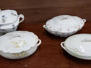 4 Covered Casserole Dishes   2 Unmarked  1 Grindley and 1 Knowles   various designs   couple have been repaired