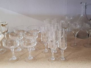 Etched Glassware  Sorbet Dishes  Fluted Glasses  Wine Glass and Pitcher   bring boxes to load out