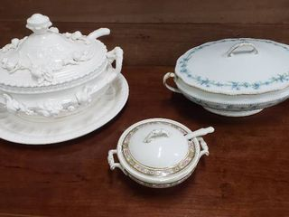 3 Soup Tureens  Unmarked Ceramic  limoges  no ladle and lid lip chipped  and Small Johnson Bros  England