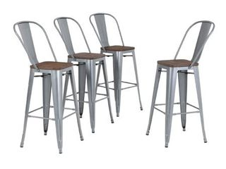 MF Studio Bar Stool 30  High Back Set of 4 Metal Dining Bar Chairs Wood Seat Stackable Patio Stool Industrial for Kitchen Bar Indoor Outdoor  Matte Silver Grey