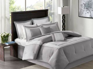 Madison Park Carlton Grey Pieced Embroidered 8 Piece Comforter Set  Retail 113 91