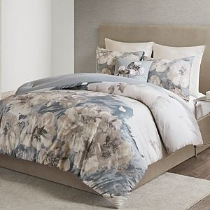 N Natori Casa Nouveau Grey 3 Piece Printed Cotton Comforter Set  Retail 232 49
