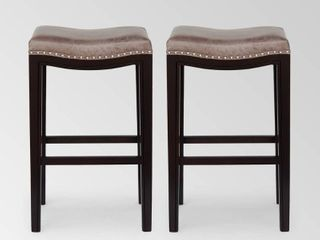Tiffin Contemporary Studded Fabric Bar Stool  Set of 2  by Christopher Knight Home  Retail 155 38