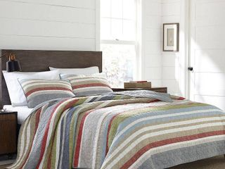 Eddie Bauer Salmon ladder Stripe 3 Piece Quilt Set  Retail 102 33