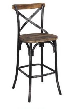 The Gray Barn Hidden Hill Antique Wood and Steel Barstool   Retail 130 99