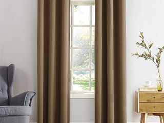 Set of 2 Barley   54  x 84  Sun Zero Hayden Energy Saving Blackout Grommet Curtain Panel
