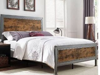 Walker Edison Queen Size Industrial Wood and Metal Bed   Brown