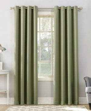 Set of 2 84 x54  Kenneth Energy Saving Blackout Grommet Top Curtain Panel Green   Sun Zero