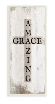 Stupell Industries Amazing Grace Rustic Cross with Distressed White Paint Wood Wall Art