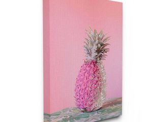 Stupell Industries Pink Glam Glitter Pineapple on Greenery Cloth Canvas Wall Art   Green