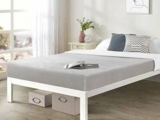 Queen Size Bed Frame Heavy Duty Steel Slats Platform Series Titan C  White   Crown Comfort  Retail 169 99