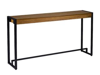 Holly   Martin Macen Console  Contemporary Industrial Style  Weathered Gray Oak w  Black  Weathered Gray