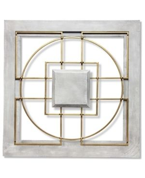 Grey Gold  Matrix 24 inch large Square Grey Gold Wall Decor