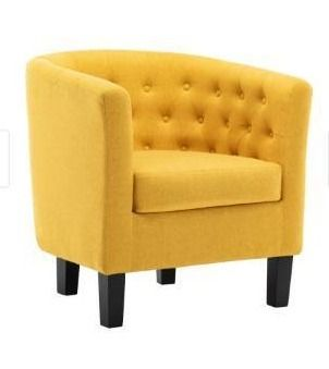 Corvus Oxonia Tufted Fabric Upholstered Club Chair   Yellow