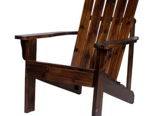 Shine Company 36 in  Tall  Vineyard Wood Patio Adirondack Chair  Burnt Brown