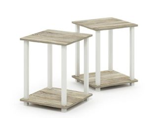 Furinno Simplistic End Table  Set of Two  Columbia Walnut Black  Sonoma Oak White