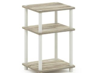 Furinno Just 3 Tier Turn N Tube End Table  Sonoma Oak White