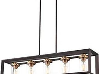 Zeyu 5 light Kitchen Island lighting  Modern linear Pendant light Fixture  Oil Rubbed Bronze and Gold Finish with Clear Glass  013 5 ORB BG