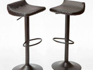 Deco 2pk All  Weather Wicker Patio Barstool Set   Brown   RST Brands