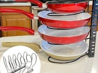 Evelots Pot Pan lid Rack Adjustable Widths 5 Divider Powder Coated Carbon Steel   Single unit