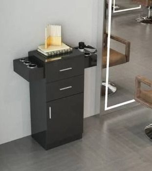 Barbershop Salon locker   Hair Dryer Rack Drawer with lock   Black