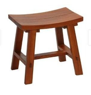 Bare Decor Dorsey Accent Stool with Curved Seat  Teak