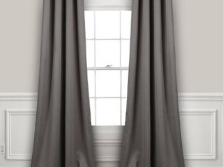 Set of 2  84 x52  Insulated Grommet Top Blackout Curtain Panels Dark Gray   lush Decor