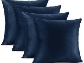 Nestl Bedding Solid Microfiber Soft Velvet Throw Pillow Cover   Set of 4   20  x 20    Navy Blue
