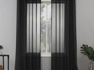 Set of 2 84 x59  Emily Sheer Voile Grommet Top Curtain Panel Black   No  918
