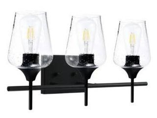 CO Z 3 light Matte Black Vanity light with Clear Seeded Glass Shade