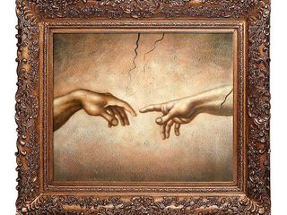 Michelangelo  Creation of Adam  detail  Hand Painted Oil Reproduction  Retail 445 49