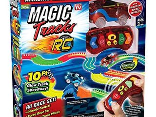 Ontel Magic Tracks RC   Remote Control Turbo Race Cars   10 ft of Flexible  Bendable Glow in the Dark Racetrack   As Seen on TV  Color may Vary