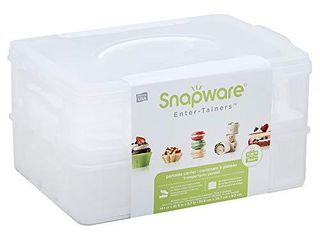 Snapware Snap  N Stack 2 layer Cookie  Cake  Cupcake and Brownie Storage Carrier  BPA Free Plastic  Holds Up to a Quarter Sheet Cake