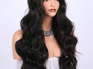 K ryssma Dark Brown Synthetic Wigs for women   Natural looking long Wavy Right Side Parting NONE lace Heat Resistant Replacement Wig Full Machine Made 24