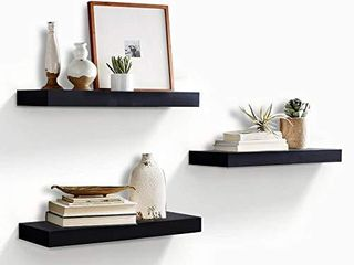 AHDECOR Floating Wall Mounted Shelves  Set of 3 Display ledge Shelves Wide Panel for Bedroom Office Kitchen living Room  5 9  Deep  Black