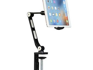 Suptek Aluminum Alloy Cell Phone Desk Mount Stand 360A Tablet Stand and Holders Adjustable for iPad  iPhone  Samsung  Asus and More 4 7 11 inch Devices  Good for Bed  Kitchen  Office  YF208B