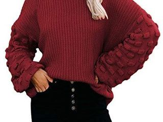 Sovoyontee Women s Red Casual Cute Oversized Crewneck loose Fitting Chunky Knit Pullover Sweater Ruby Medium