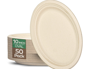 100  Compostable Oval Paper Plates  10 Inch   50 pack  Elegant Disposable