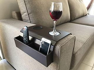 Sofa Arm Tray Table  Remote Control and Cellphone Organizer Holder  Arm Rest Organizer  Arm Rest Table with Pockets  Fits Over Square Chair arms   Tobacco Dark Brown