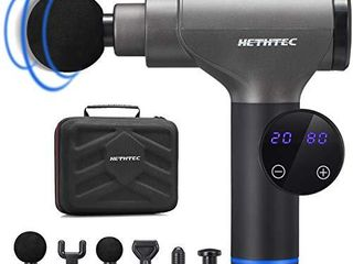 Hethtec Massage Gun  Handheld Muscle Massager for Pain Relief  20 Speed  Includes 6 Massage Heads and Carrying Case