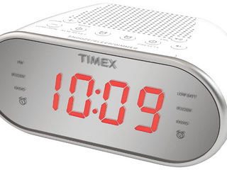 Timex Dual Alarm Clock With Battery Backup Mirror Finish Red Digital Open Box wo