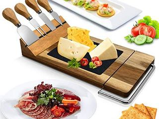 Nutrichef Slicing Bamboo Cheese Board Platter 4 Stainless Steel Knives and Magnet Holder Modern Wood Snack Serving Tray w Stone Slate Slab  Slicer Blade for Cutting Food  Fruit  Meat