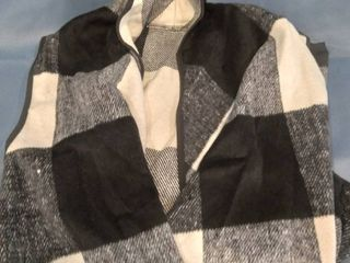 Womens Sleeveless Color Block lapel Open Front Plaid Vest Cardigan with Pockets Black 2Xl