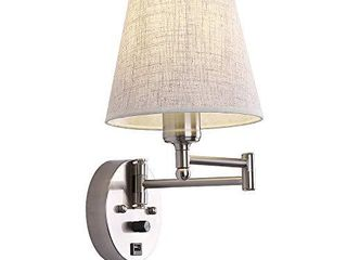 Bedside Wall Mount light with Dimmable Switch and USB Port  Swing Arm Fabric Shade Wall Sconce light with Plug in Cord  Wall lamp Perfect for Bedroom  living Room and Hotel