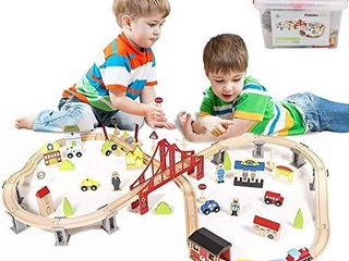 Pidoko Kids Wooden Train Set   City Railway Super Highway 70 Pieces   Tracks Compatible with all major brands