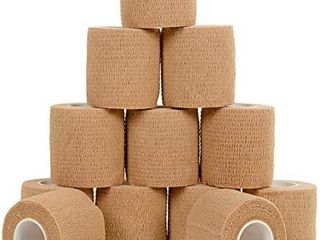 Self Adherent Cohesive Wrap Bandages  12 Pack Bundle    2a Wide  5 Yards All Sports Athletic Tape   Brown Non Woven Bandage   Breathable Wound Tape   Medical Stretch  Cover All Tape