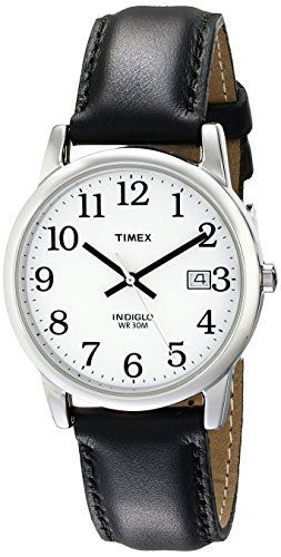 Timex Men s T2H281 Easy Reader 35mm Black leather Strap Watch