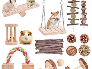 Qukpa Hamster Chew Toys 13 PCS Natural Wooden Pine Small Pet Cage Accessories for Bunny  Guinea Pig  Rat  Chinchilla  Gerbils Dumbbells Exercise Bell Roller Teeth Care Molar Toy