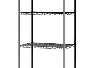 4 TIER WIRE SHElVING UNITS WITH BASKET FOR KITCHEN  BlACK